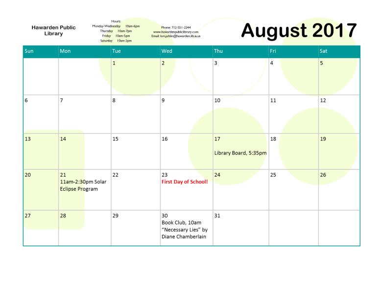 August 2017 Event Calendar