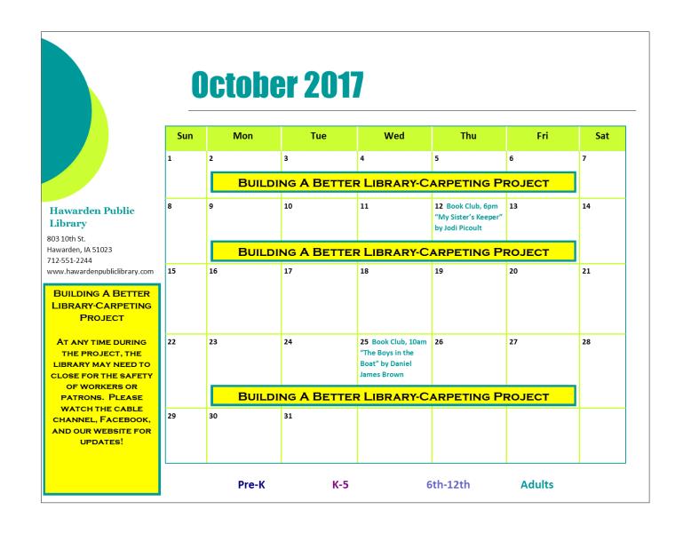 October 2017 Program Calendar