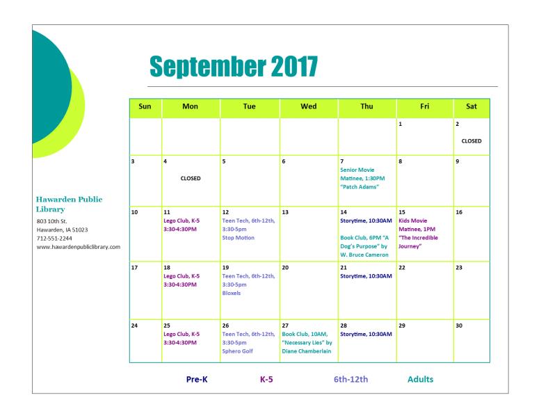 September 2017 Program Calendar