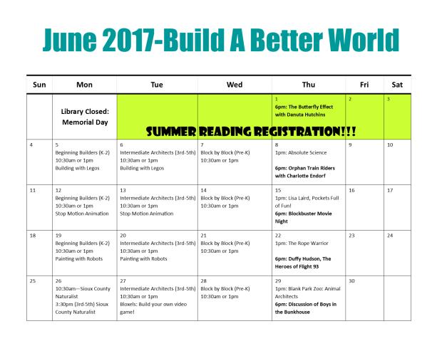 Summer Reading Calendar 2017