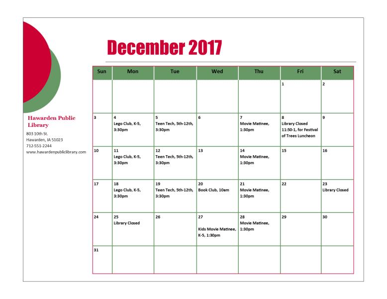 November 2017 Program Calendar