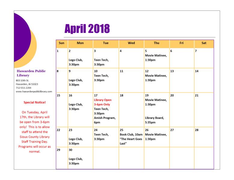 April 2018 Program Calendar