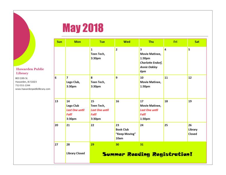 May 2018 Program Calendar