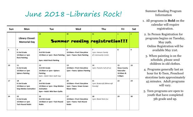 Summer Reading Calendar 2018