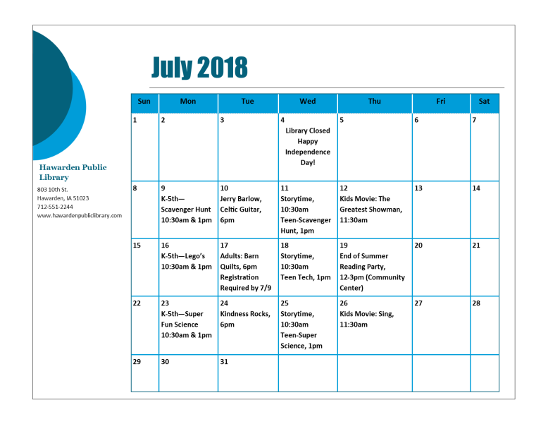 July 2018 Program Calendar