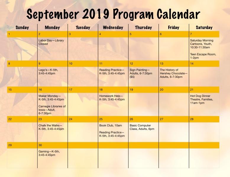 September 2019 Program Calendar