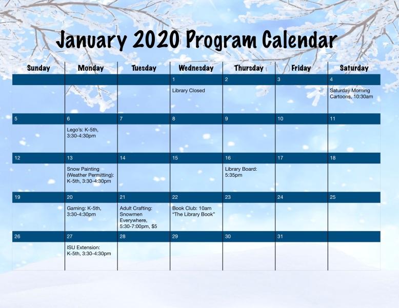 January 2020 Program Calendar